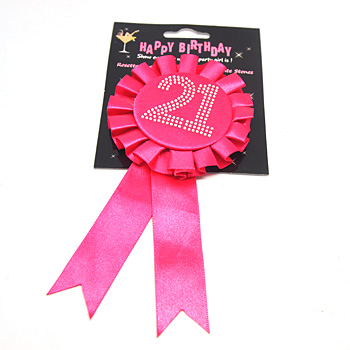 Pink 21st Birthday Rosette Badge